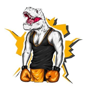 Bel dinosauro con un corpo atletico in una maglietta, pugile.