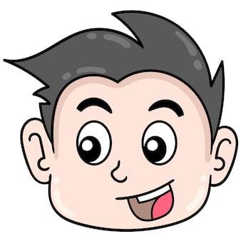 La testa del ragazzo affrontato bello sta sorridendo felicemente, emoticon del cartone dell'illustrazione di vettore. disegno dell'icona scarabocchio