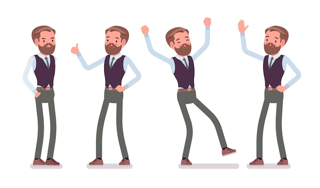 L'impiegato di ufficio maschio bello che sta, sentendo le emozioni positive, gode del suo successo di carriera. concetto di moda uomo d'affari casual. stile cartoon illustrazione, sfondo bianco