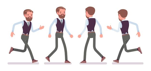 Impiegato di ufficio maschio bello che cammina, che corre, in fretta per lavorare, occupato al lavoro. concetto di moda uomo d'affari casual. stile cartoon illustrazione, sfondo bianco, frontale, vista posteriore