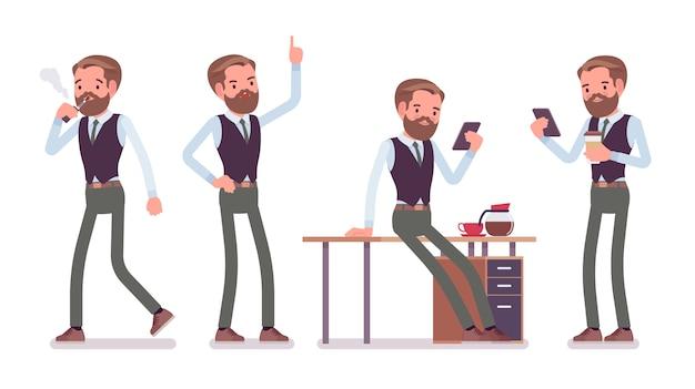 Funzionamento maschio bello degli impiegati di ufficio