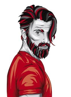Bell'uomo con barba e acconciatura alla moda.