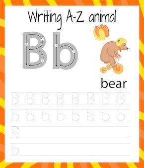 Foglio di pratica della scrittura a mano. scrittura di base. gioco educativo per bambini. imparare le lettere dell'alfabeto inglese per i bambini. scrivere la lettera b