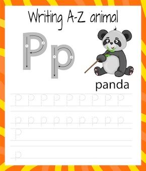 Foglio di pratica della scrittura a mano. scrittura di base. gioco educativo per bambini. imparare le lettere dell'alfabeto inglese per i bambini. scrivere la lettera p