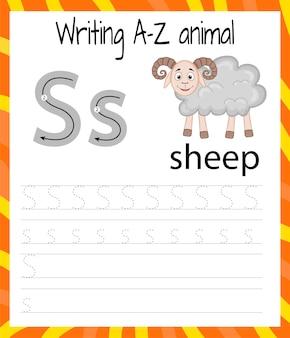 Foglio di pratica della scrittura a mano. scrittura di base. gioco educativo per bambini. imparare le lettere dell'alfabeto inglese per bambini. scrivendo lettere