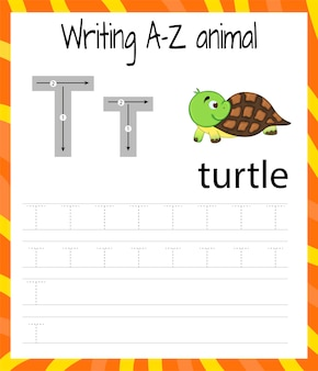 Foglio di pratica della scrittura a mano. scrittura di base. gioco educativo per bambini. imparare le lettere dell'alfabeto inglese per bambini. scrivere la lettera t