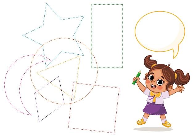 Foglio di pratica per la scrittura a mano gioco educativo per bambini attività per bambini forme di apprendimento