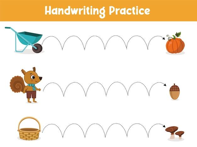 Foglio di pratica della scrittura a mano gioco educativo per bambini illustrazione vettoriale