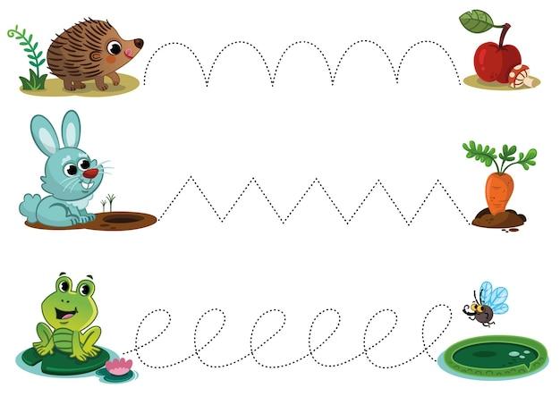 Foglio di esercitazione per la scrittura a mano con simpatici animali dei cartoni animati tracciare linee per bambini in età prescolare