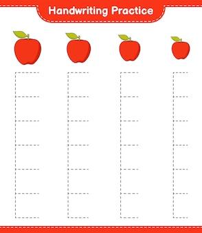 Pratica di scrittura a mano tracciare le linee del foglio di lavoro stampabile del gioco educativo per bambini di apple