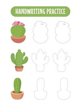 Pratica della scrittura a mano che traccia le linee dei bambini educativi del cactus che scrivono il gioco di pratica