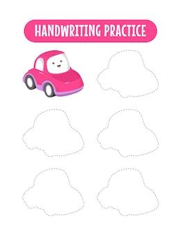 Pratica della scrittura a mano che traccia le linee dei bambini educativi che scrivono il gioco di pratica