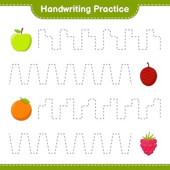 Pratica di scrittura a mano. tracciare linee di frutta. gioco educativo per bambini, foglio di lavoro stampabile
