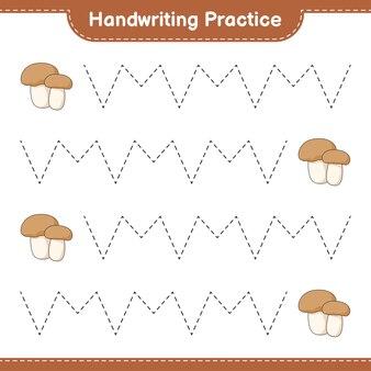 Pratica di scrittura a mano tracciare le linee di fungo boletus gioco educativo per bambini