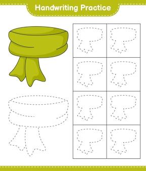 Pratica di scrittura a mano tracciare le linee della sciarpa foglio di lavoro stampabile per bambini educativi