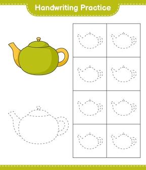 Pratica di scrittura a mano tracciare le linee della teiera gioco educativo per bambini foglio di lavoro stampabile