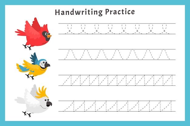 Pratica di scrittura a mano con gli uccelli Vettore Premium