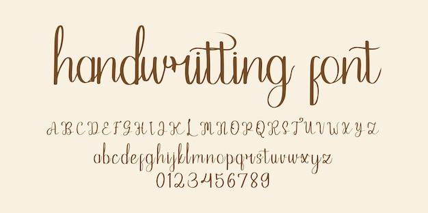 Alfabeto dei caratteri della scrittura a mano