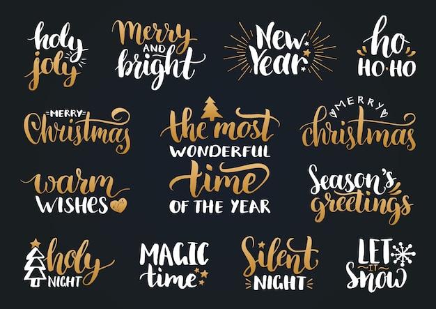 Calligrafia scritta a mano di natale e capodanno con decorazioni festive. buone vacanze, scritte holly jolly ecc.