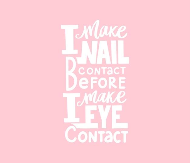 Lettere scritte a mano sulle unghie. Vettore Premium