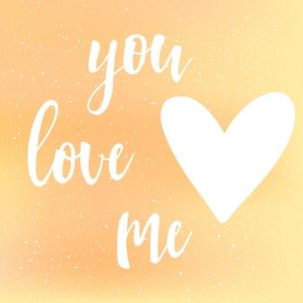 Lettere scritte a mano su sfondo giallo e arancione. doodle fatto a mano mi ami citazione e cuore disegnato a mano per t-shirt di design, partecipazione di nozze, invito nuziale, album di san valentino ecc.