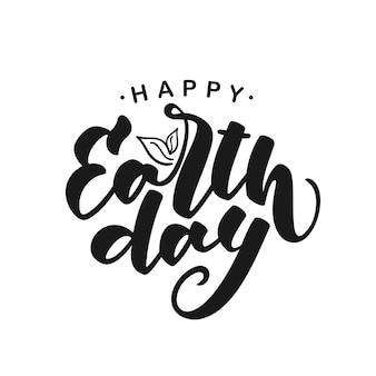 Scritto a mano moderno pennello lettering di happy earth day su sfondo bianco
