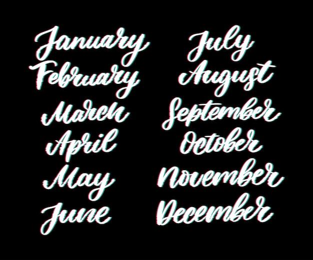 Nomi scritti a mano di mesi