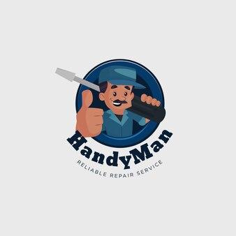 Modello di logo mascotte vettoriale servizio di riparazione affidabile uomo a portata di mano