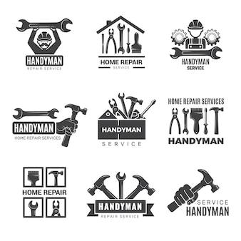 Logo tuttofare. lavoratore con attrezzature di manutenzione distintivi cacciavite mano imprenditore simboli uomo. attrezzature per il logo di riparazione e costruzione, illustrazione della cassetta degli attrezzi del logotipo di servizio