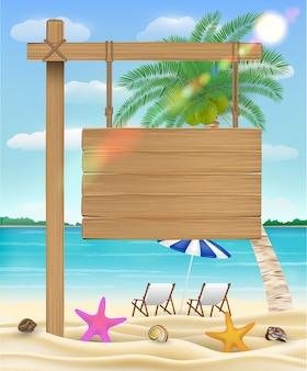 Appendere cartello in legno sulla spiaggia del mare con sedia relax