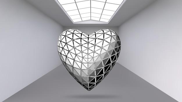 Oggetto poligonale astratto appeso. spazio espositivo per oggetti d'arte moderna. oggetti di fantascienza.