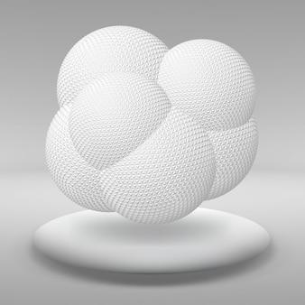 Palla sospesa composta da tanti poligoni più piccoli nella grande stanza vuota. lo spazio espositivo è l'oggetto astratto dalla forma sferica.