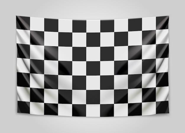 Bandiera a scacchi appesa. bandiera di gara o vincitore.