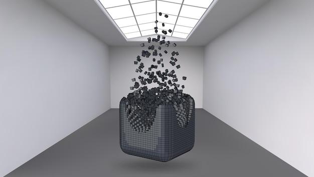 Appendere il cubo da una moltitudine di piccoli poligoni nella grande stanza vuota. spazio espositivo con forme cubiche astratte. il cubo al momento dell'esplosione è diviso in particelle fini.