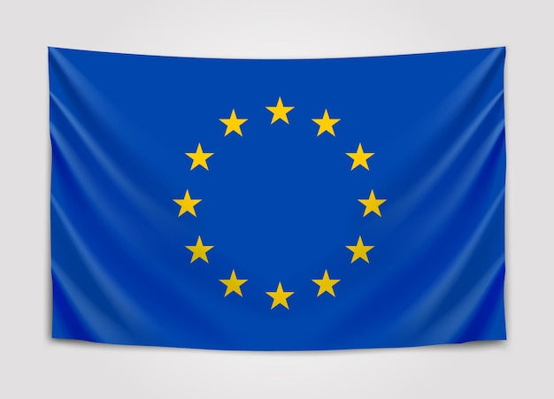Bandiera d'attaccatura dell'europa. unione europea. bandiera europea