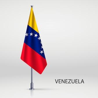 Bandiera appesa sul modello pennone Vettore Premium