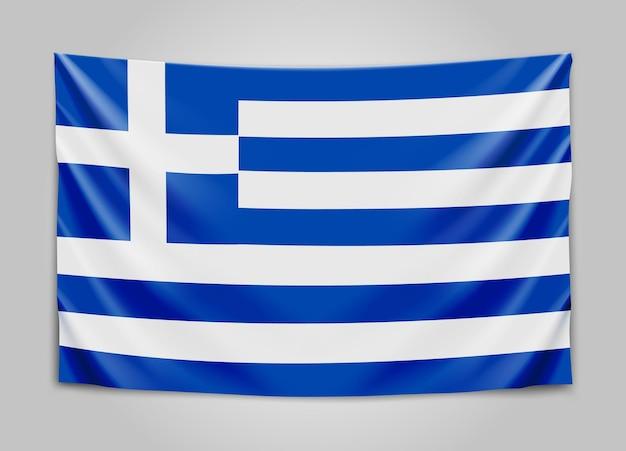 Appendere la bandiera della grecia. repubblica ellenica. greco