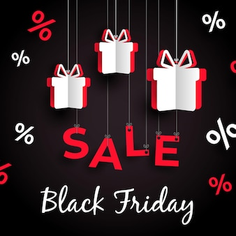Appendere i regali venerdì nero in stile carta