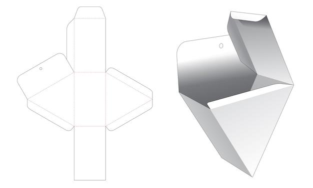 Modello fustellato per scatola di imballaggio triangolare con foro per appendere