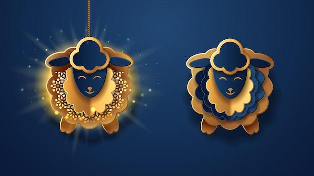 Lanterne appese come pecore per eid aladha paper fanous in forma di agnello per bakrid o festa di