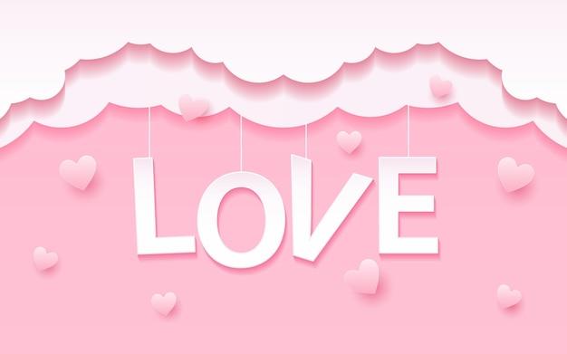Decorazione appesa con carta da lettere d'amore con effetto luce