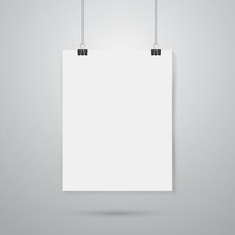 Mockup di poster di carta appesa