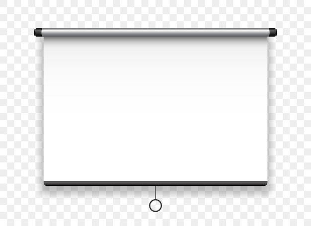 Schermo di proiezione sospeso tabellone di presentazione realistico