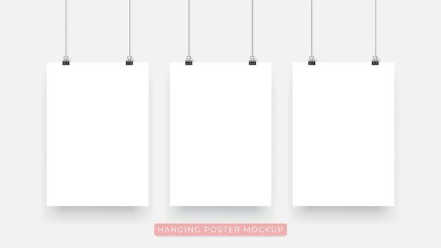 Appeso realistico mockup poster 3d