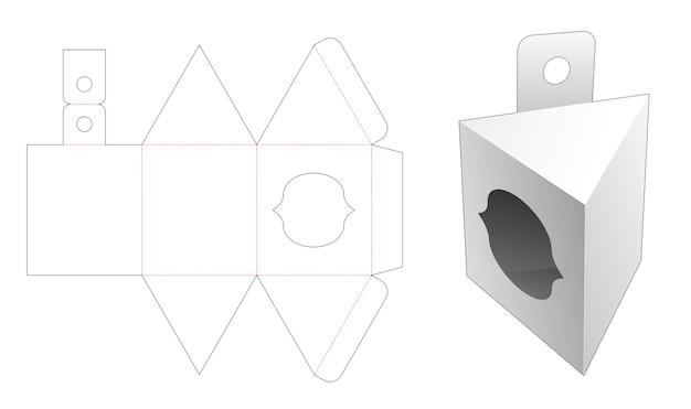 Confezione triangolare da appendere con sagoma fustellata finestra curva