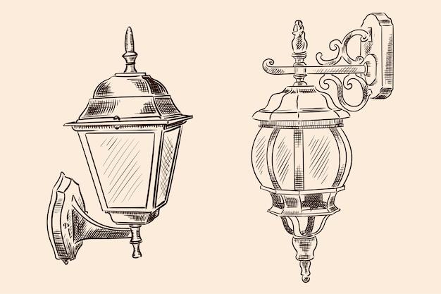 Applique a sospensione in stile classico per illuminazione stradale. schizzo fatto a mano su colore beige