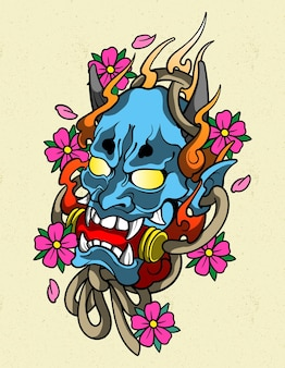 Hannya blu tatuaggio
