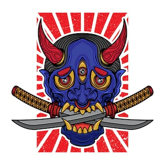 T-shirt con maschera hannya