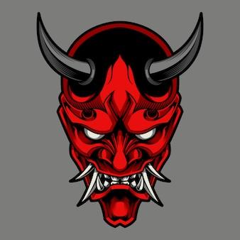 Hannya il tradizionale demone giapponese oni maschera illustrazione