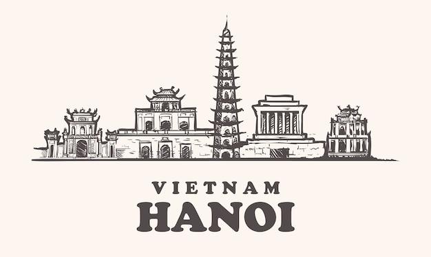 Lo skyline di hanoi, vietnam